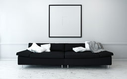 Black Sofa with White Cushions in Modern Home stock photo