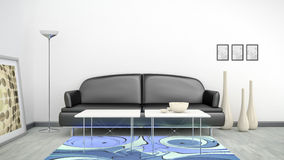 Black sofa in a white room and a blue carpet. 3d interior render image of a black sofa in a white room with space for your content Stock Images
