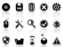 Black software icons set Royalty Free Stock Image