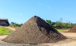 Black Soil Mound. Mound of black Soil used for landscaping and driveways on display and for sale stock photo