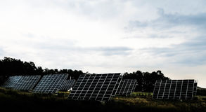 Black Solar Panels Under Cloudy Blue Sky during Daytime Royalty Free Stock Photos