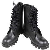Black soldier boots. Isolated on white background Royalty Free Stock Image