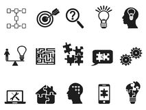 Black solution icons set. Isolated black solution icons set from white background Stock Illustration