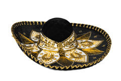 Black sombrero isolated. Black mexican sombrero from Mexico isolated on white background Stock Photos