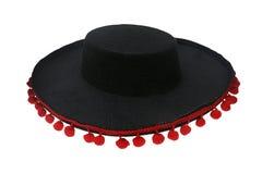 Black sombrero mexicano isolated. Black sombrero with bells isolated on white stock photos