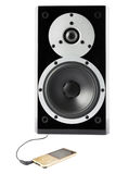 Black sound speaker and mp4 player Royalty Free Stock Photos