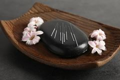 Black spa πέτρα με το σύνολο βελόνων βελονισμού στοκ φωτογραφία