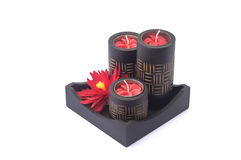 Black spa Candle with red flower in black wood box Stock Images