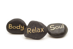 Black spa massage stones Stock Photos