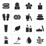 Black Spa objects icons. Vector icon set Royalty Free Stock Photography