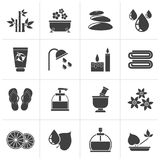 Black Spa and relax objects icons. Vector icon set Stock Images
