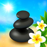 Black spa rocks with flowers on summer background Royalty Free Stock Images