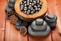 Black spa stones Stock Image
