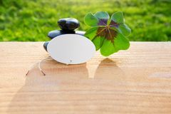 Black spa stones and four leaf clover . Royalty Free Stock Images