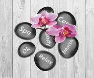 Black spa stones and orchid flowers on wooden background. Black spa stones and orchid flowers on the wooden background Stock Photos