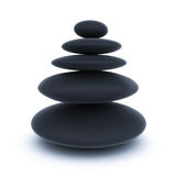 Black spa stones over white Royalty Free Stock Images
