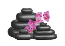 Black spa stones and pink orchid isolated Royalty Free Stock Photo