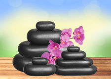 Black spa stones and pink orchid on wooden table over nature. Background Stock Photography