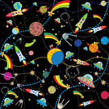 Black space background. Similar black space background with rockets and planets stock illustration