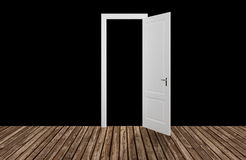 Black space behind the opening door,3D Stock Image