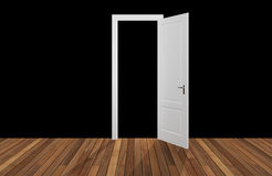 Black space behind the opening door,3D Stock Image