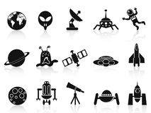Black space icons set Royalty Free Stock Photos