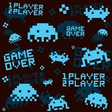 Black space invaders pattern Royalty Free Stock Image