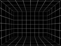 Black space with perspective grid , 3d Stock Image