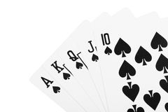 Black spade royal straight flush poker Stock Photos