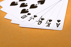 Black spade royal straight flush poker Royalty Free Stock Photos