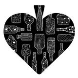 Black spades cartoon heart with hand drawn bottles Royalty Free Stock Photo