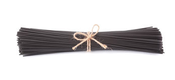 Black spaghetti with cuttlefish ink, isolated Stock Photo