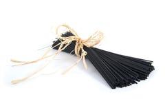 Black spaghetti with cuttlefish ink. Stock Photo