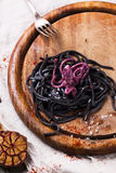 Black spaghetti with octopus Royalty Free Stock Image