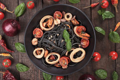Black spaghetti pasta Royalty Free Stock Photos