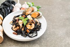 black spaghetti or pasta with seafood Stock Photography