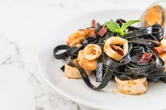 black spaghetti or pasta with seafood Stock Photo