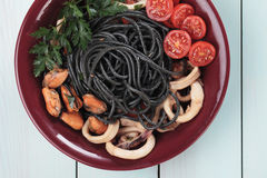 Black spaghetti pasta Stock Photography