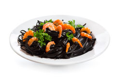 Black spaghetti with prawns Royalty Free Stock Image