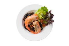 Black spaghetti with river prawn Royalty Free Stock Photography