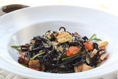 Black Spaghetti with Salted Fish Food Royalty Free Stock Image