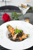 Black spaghetti with seafood Stock Photography