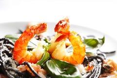 Black spaghetti with seafood Royalty Free Stock Photo