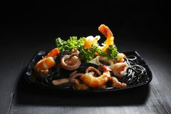 Black spaghetti with seafood Royalty Free Stock Photography
