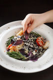 Black spaghetti with shrimps and vegetables Stock Photos