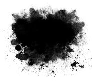 Black Spatter Grunge Background. Grunge background or copy space of black spatter and brush strokes isolated on white Royalty Free Stock Photography