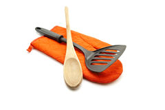 Black Spatula with Cooking Spoon and Potholder Glove Royalty Free Stock Photo