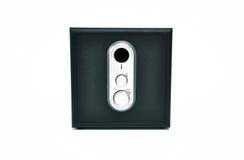 Black speaker. Black and silver stereo speaker with adjustable sound stock images