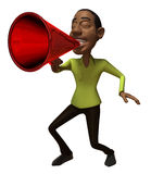 Black speaker. With a megaphone, 3d generated Stock Images