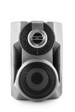 Black speaker isolated with clipping path. Black speaker isolated on white with clipping path stock images